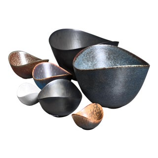 Collection of Seven Gunnar Nylund Ceramic Bowls for Rörstrand, Sweden, 1950s For Sale