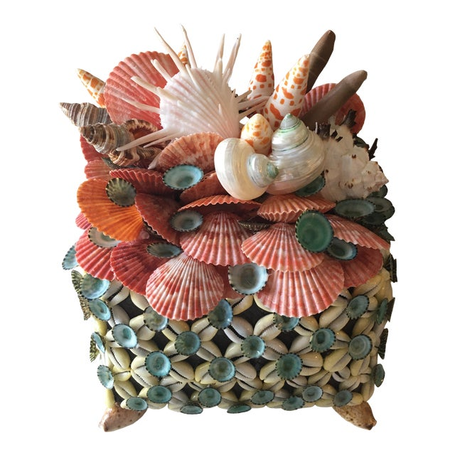 Shelled Tea Basket Box With Lid by Coquillage Artist For Sale