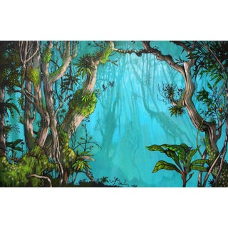 Jungle with the dancing frogs print For Sale