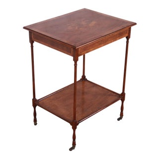 Baker Furniture Petite Inlaid Mahogany Marquetry Side Table For Sale