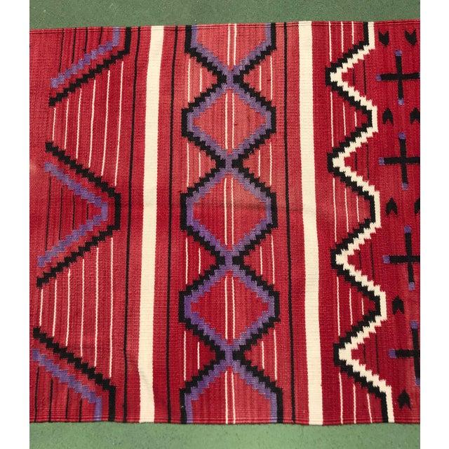 "Folk Art Vintage Mohair Handwoven Wool Rug- 3' X 6'5"" For Sale - Image 3 of 5"
