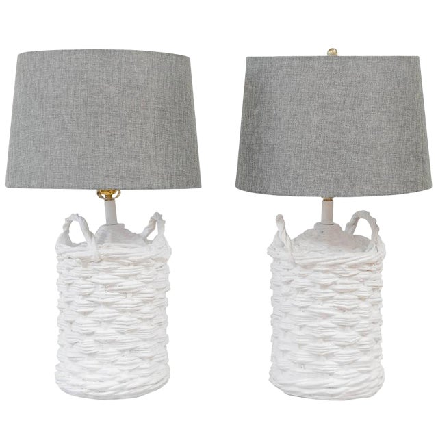 John Dickinson Plaster Lamps - A Pair For Sale