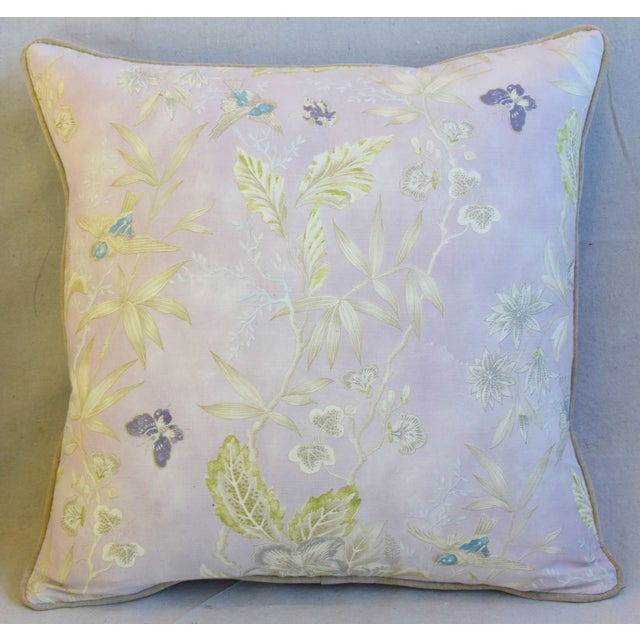 """Abstract Pale Lavender Wildflower & Butterfly Linen Feather/Down Pillows 23"""" Square - Pair For Sale - Image 3 of 13"""