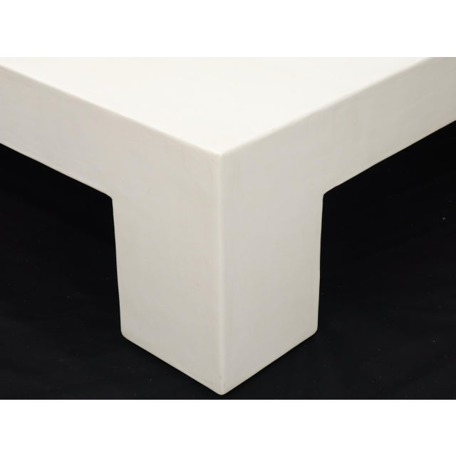 Robert Kuo Large Square White Enamel Lacquer Coffee Table For Sale - Image 11 of 13