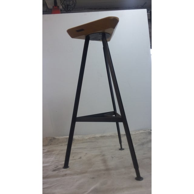 Delta Steel and Pine Stool For Sale In New York - Image 6 of 6