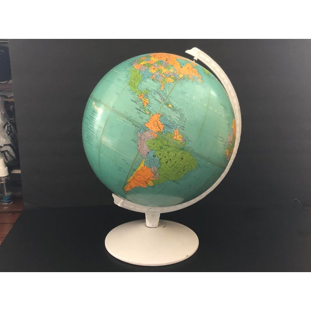Replogle Globes 1970s Vintage Blue Replogle Table Globe With White Base For Sale - Image 4 of 13