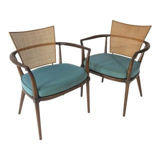Pair of Sculptural Bert England Brass, Cane & Carved Walnut Arm or Dining Chairs For Sale