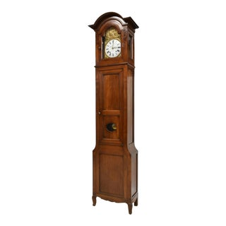 19th Century Antique Functioning French Morbier Walnut Long Case Grandfather Clock For Sale