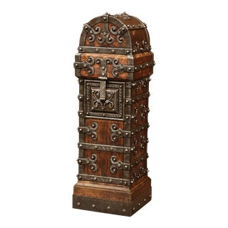 18th Century Spanish Wood and Iron Church Trunk Safe with Triple Lock and Keys