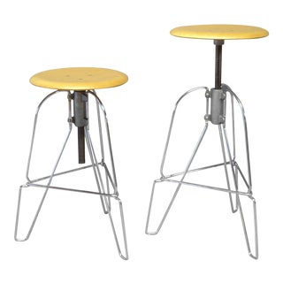 Pair of Industrial Chic Steel and Wood Adjustable Bar Stools For Sale