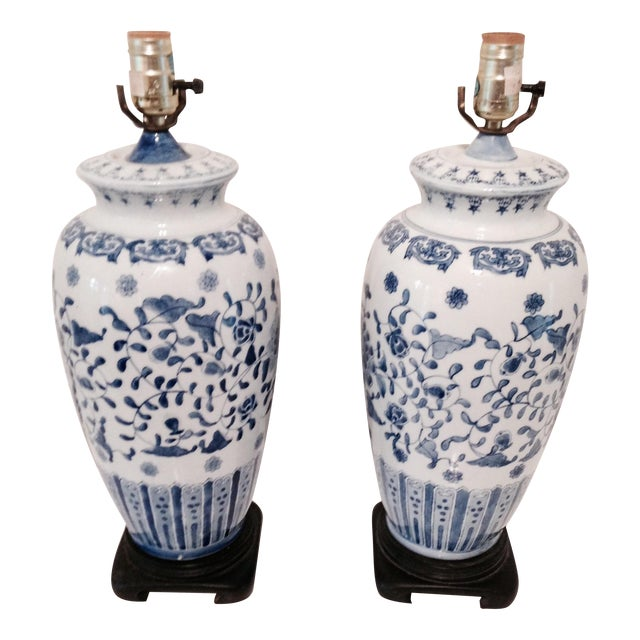 Vintage Blue & White Porcelain Lamps - Pair - Image 1 of 6