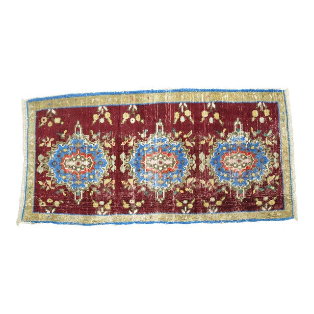 Vintage Anatolian Chinese Red Color Rug, 1'7'' x 3'2'' For Sale
