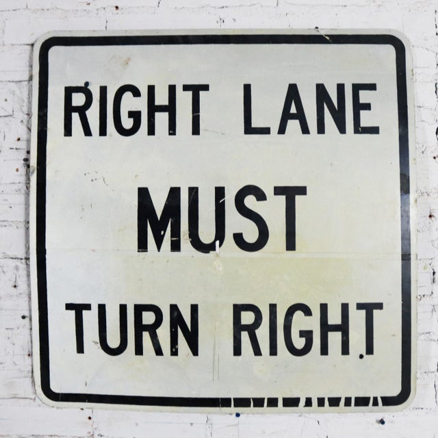 Vintage Right Lane Must Turn Right Large Steel Traffic Sign For Sale - Image 9 of 11