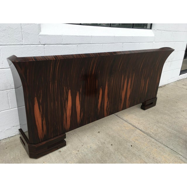 1980s Art Deco Cal King Bedframe in Macassar & Birdseye Maple For Sale - Image 12 of 13