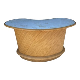 Kidney Shape Pencil Rattan Counter-Bar With Tessellated Stone Top For Sale