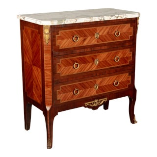 French Louis XVI Style Marquetry Commode or Nightstand For Sale