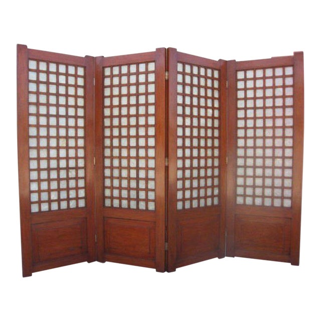 Mid-Century Four Panel Abalone and Mahogany Screen For Sale