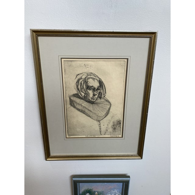 """Beautifully matted and framed artist proof """"Lady with Collar"""" by Vincent Perez, dated 1966."""