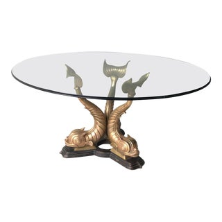 1960s Italian Brass Koi Fish Dining or Entry Table Base For Sale