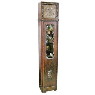 Long Case Art Deco Clock For Sale