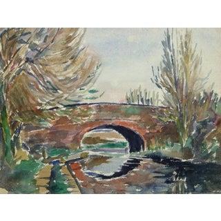 Tae, Vintage Watercolor Landscape - Stone Bridge For Sale