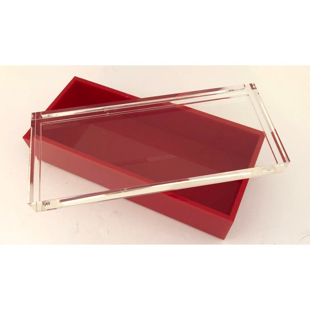 Hollywood Regency Alessandro Albrizzi Signed Mid-Century Red & Clear Lucite Box For Sale - Image 3 of 6