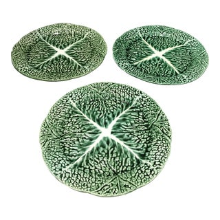 Vintage Secla Green Ceramic Majolica Cabbage Salad Plates - Set of 3 For Sale