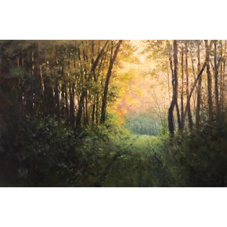 "Thomas McNickle ""Woodland Trail, Morning Light"" Contemporary Traditional Landscape Oil Painting For Sale"