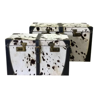 Leather White & Black Storage Trunk Set for Living Room