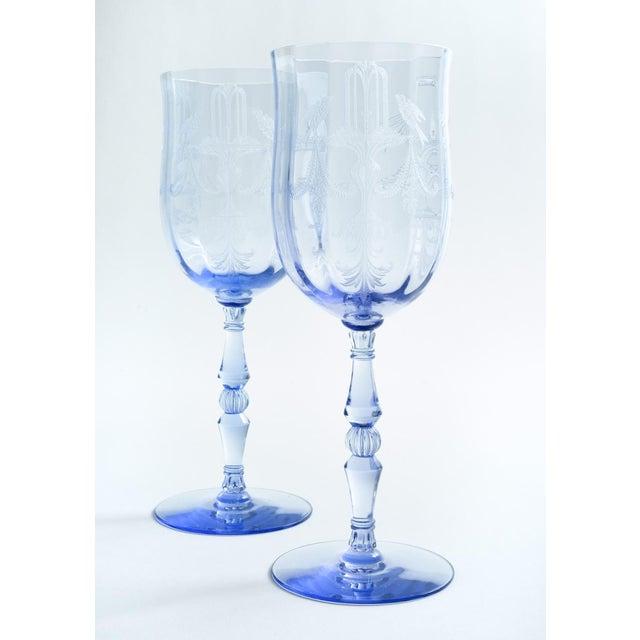 Vintage Etched Crystal Wine / Water Glassware Set For Sale - Image 4 of 13