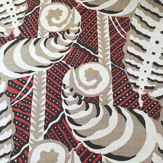 "Quadrille ""Fern"" Cinnabar Linen Fabric For Sale"