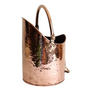 Antique English Hammered Copper Scuttle Bucket Jardiniere Planter For Sale