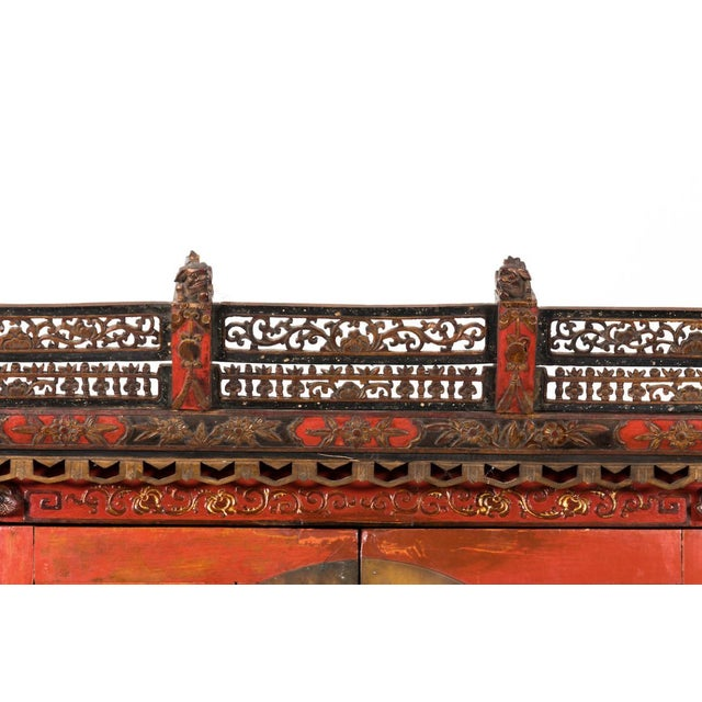 Metal Painted Chinoiserie Armoire Ca. 1880 For Sale - Image 7 of 10