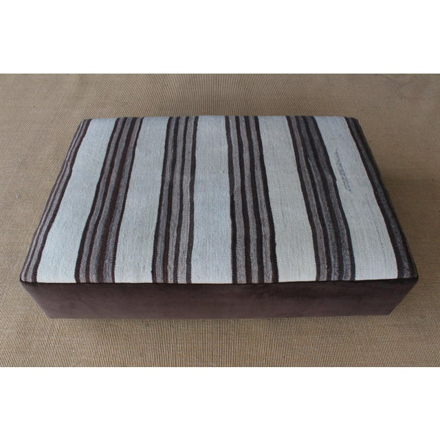 Boho Chic Upholstered Ottoman in Vintage Striped Navajo Rug For Sale - Image 3 of 11