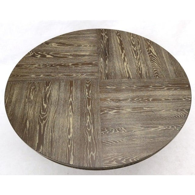 Large Oversize in Diameter Round Cerused Limed Oak Dining Table For Sale - Image 6 of 13