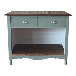 Antique Blue Painted Wash Stand For Sale