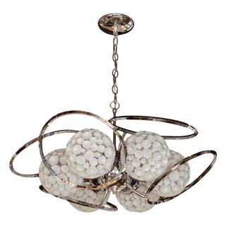 Mid-Century Modern Sculptural Chrome & Translucent Textured Glass Orb Chandelier For Sale