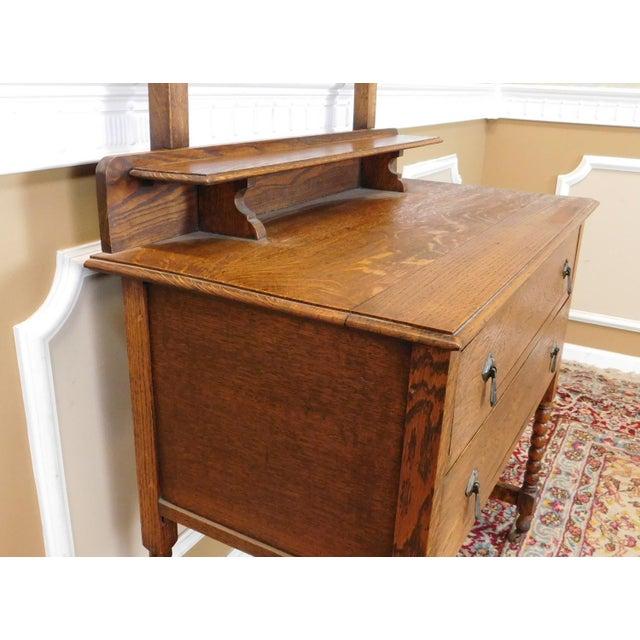 Antique English Style Quartered Oak Barley Twist Dressing Table Wash