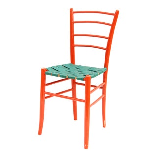 Red Lacquer Ladderback Side Chair For Sale