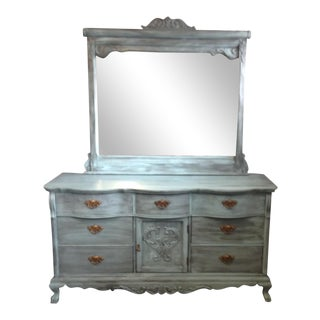 1990s Victorian Lexington Hand Painted Buffet With Beveled Mirror For Sale