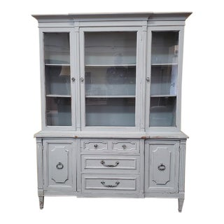 Vintage Shabby Chic French Provincial Powder Blue Hutch C.1960 For Sale