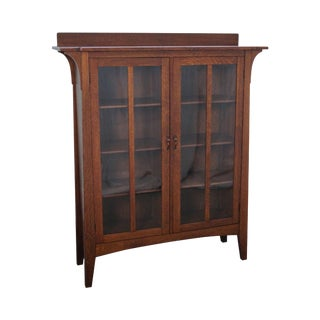 Antique Limbert Mission Oak 2 Door Bookcase For Sale