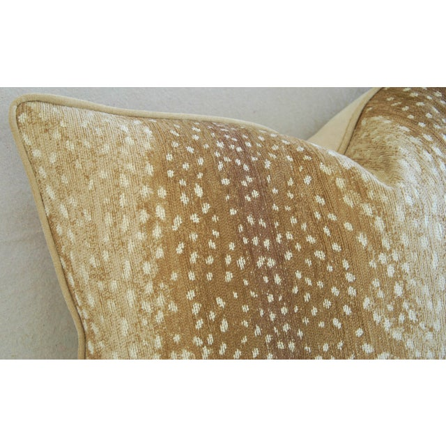 """Late 20th Century Large Custom Fawn Speckled Spot Velvet Feather/Down Lumbar Pillow 26"""" X 18"""" For Sale - Image 5 of 8"""