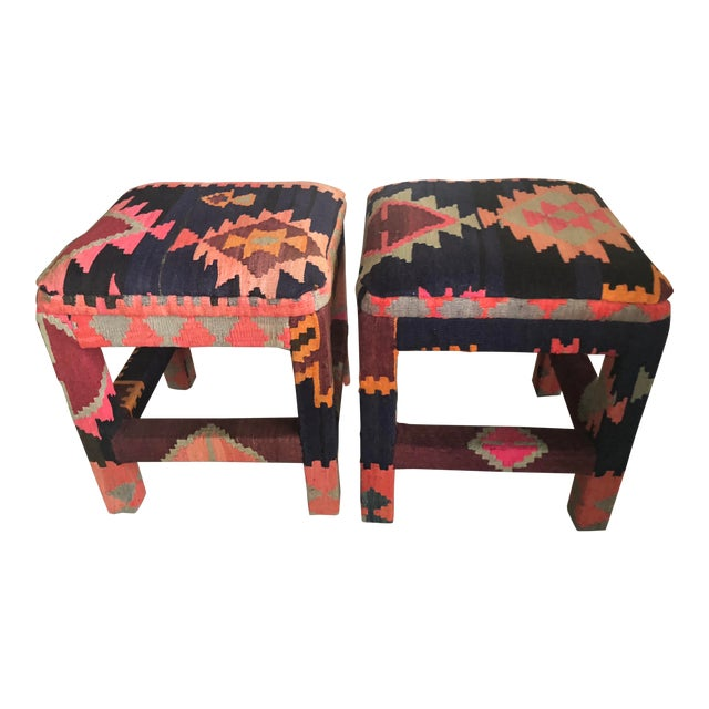 Vintage Boho Kilim Upholstered Stool Ottomans - A Pair For Sale