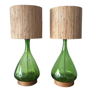 1960s Mid-Century Modern Blenko Olive Green Glass Lamps - a Pair