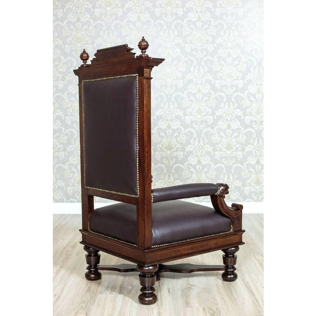 Circa 1920 Oak Armchair Throne For Sale - Image 4 of 9