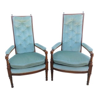Mid 20th Century Louis XVI Fruitwood Tufted Chairs-a Pair For Sale