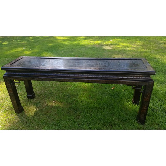 Wood John Widdicomb Asian Carved Console Table For Sale - Image 7 of 10