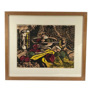1960s Wood Block Print of Still Life With Fruit Ap, Signed Johnson For Sale