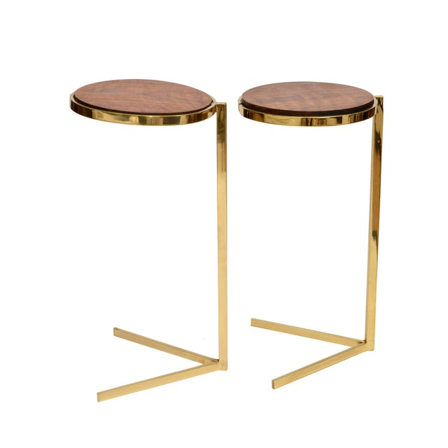 Personal Brass with Wooden Top Side Table - Image 9 of 9
